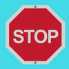 Illustrated stop sign on a blue background