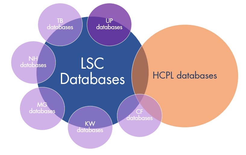Venn digram showing LSC and HCPL databases with some overlap, and 6 additional bubble for most of the main campuses branching off the LSC bubble.