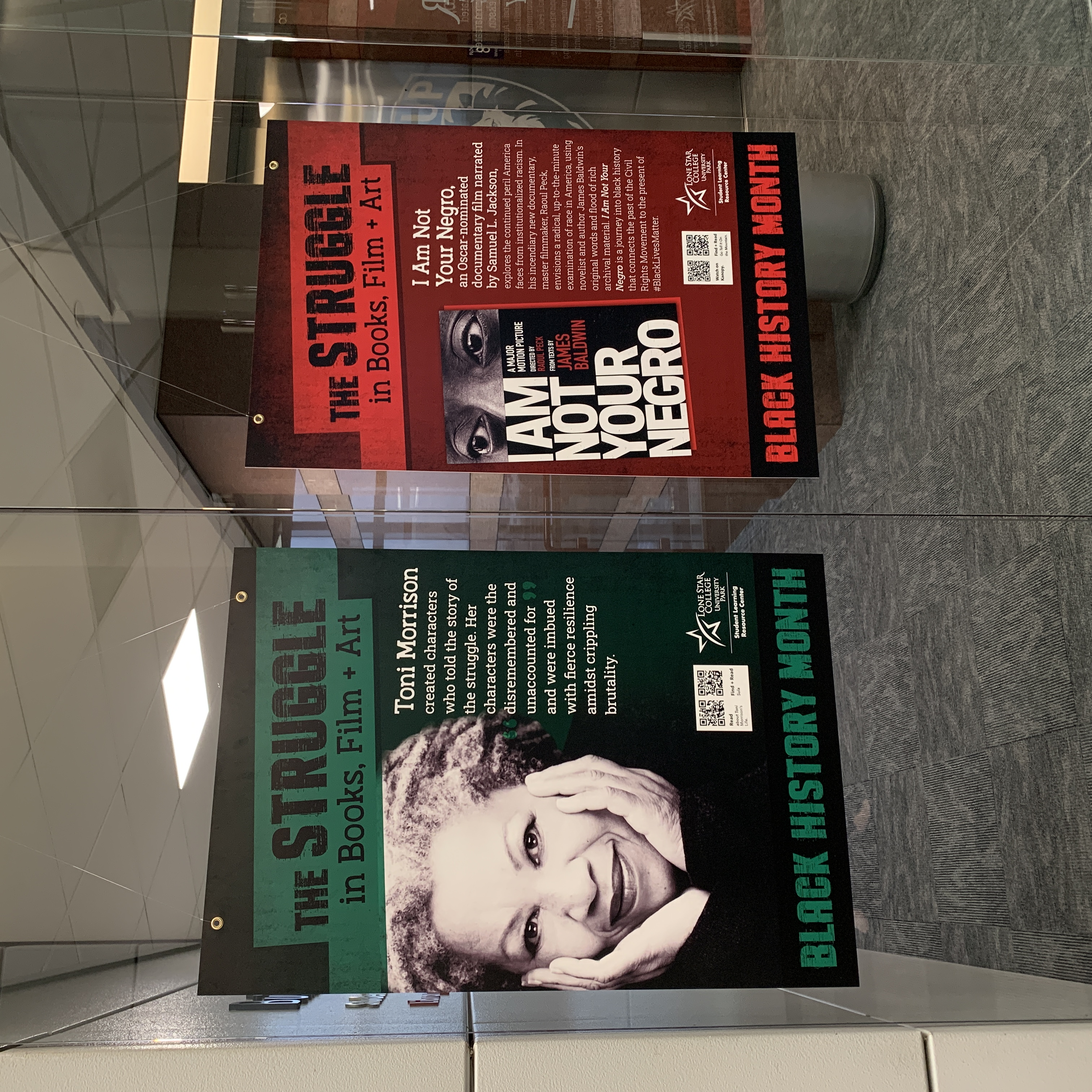 Image of posters depicting the struggle in books, film, and arts. The green poster discusses James Baldwin Toni Morrison; the red poster discusses
