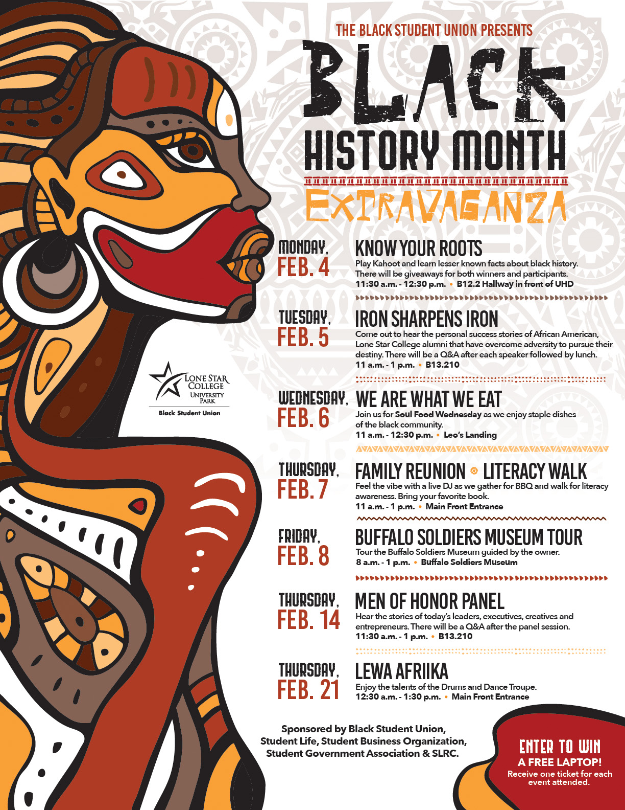 Flyer listing the events for Black History Month 2019