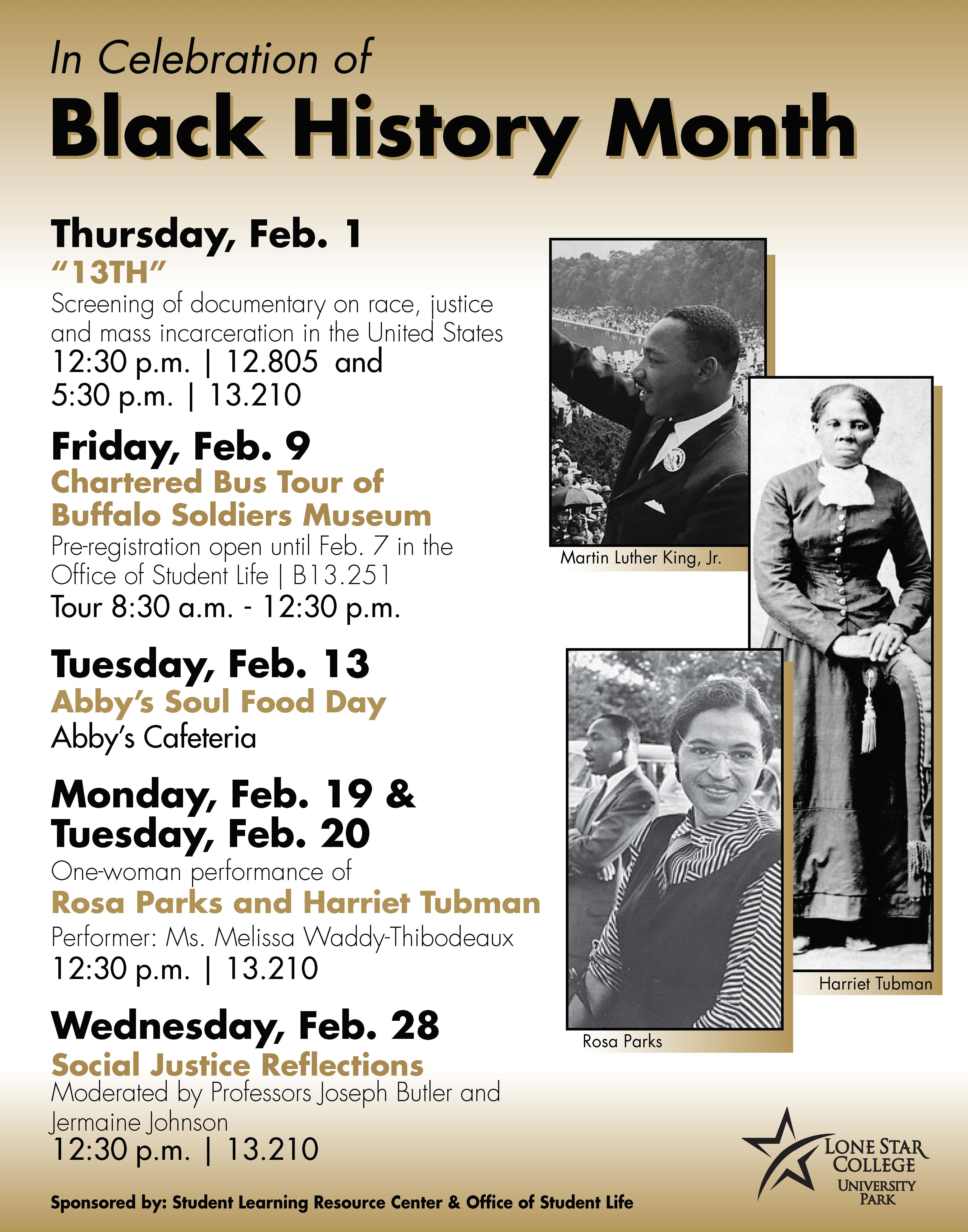 Flyer listing Black History Month events in 2018