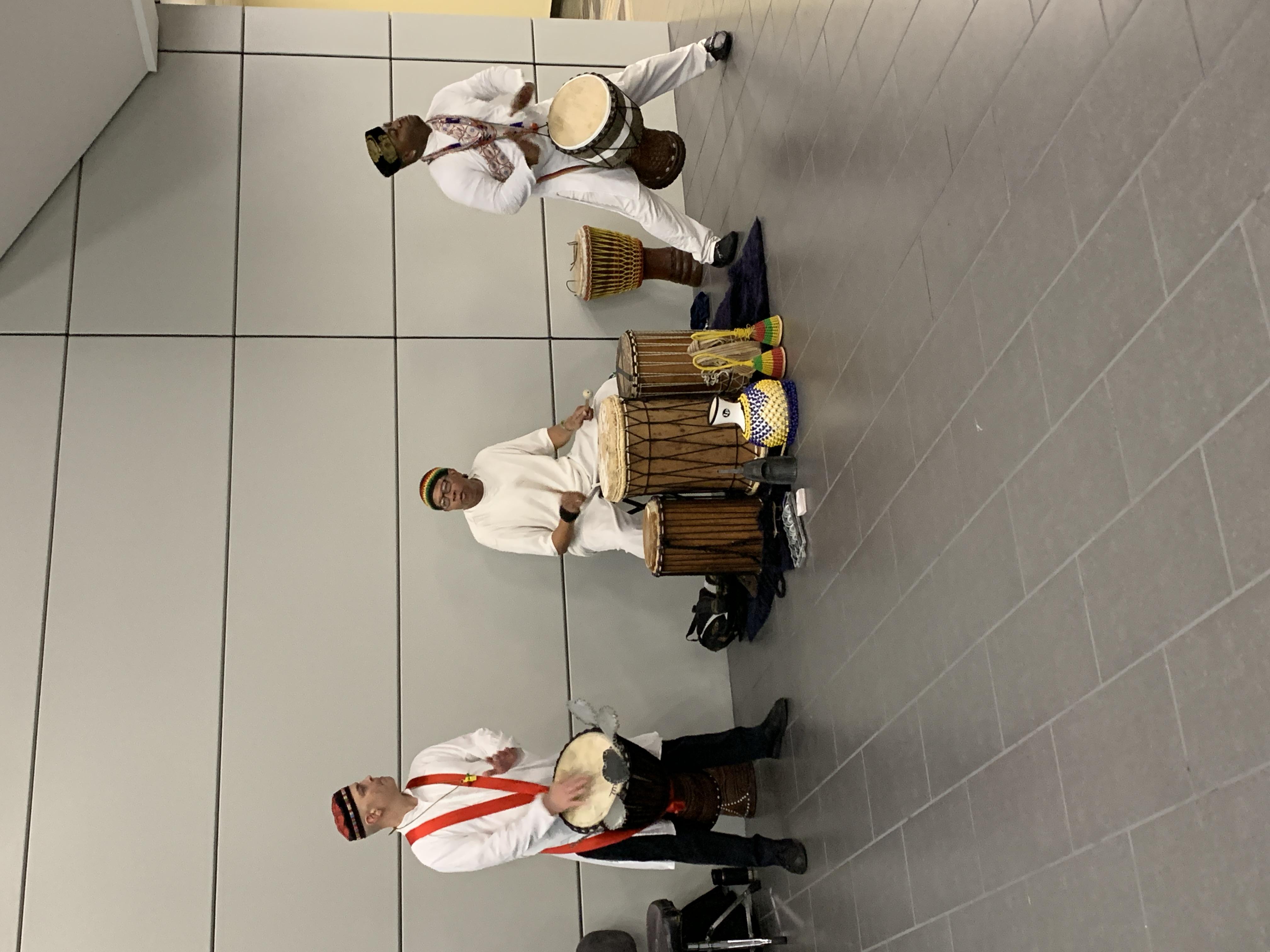 Lewa Afriika drummers perform at University Park.