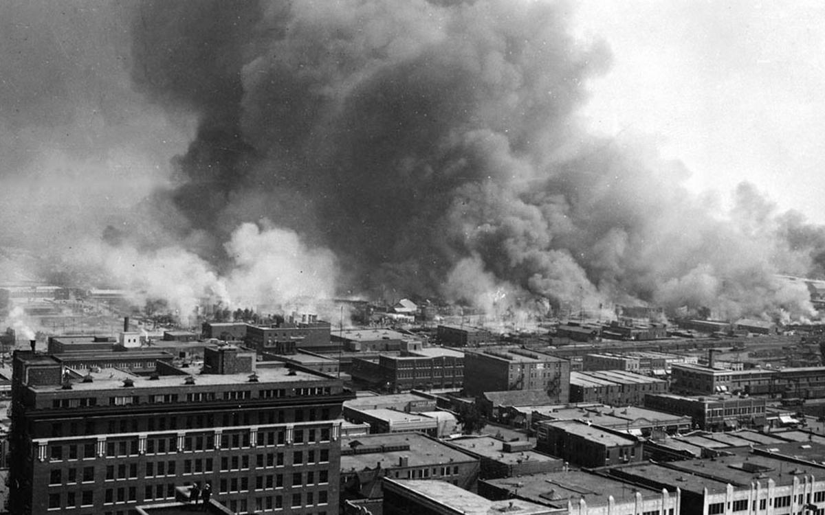 Smoke billowing over Tulsa, Oklahoma during 1921 race massacre