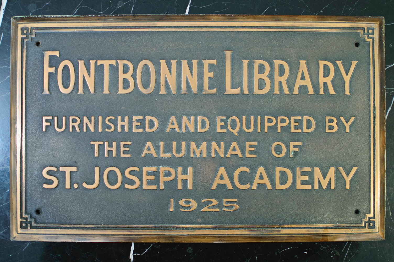 photo of Fontbonne Library plaque