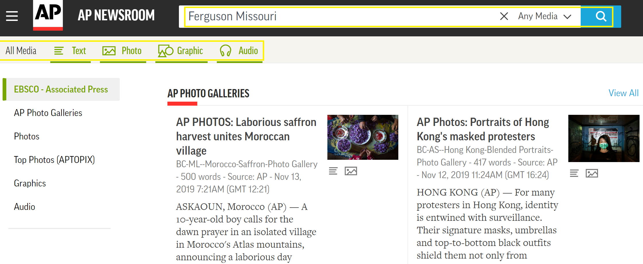 AP Newsroom landing and search page