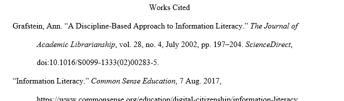 Sample MLA Works Cited page