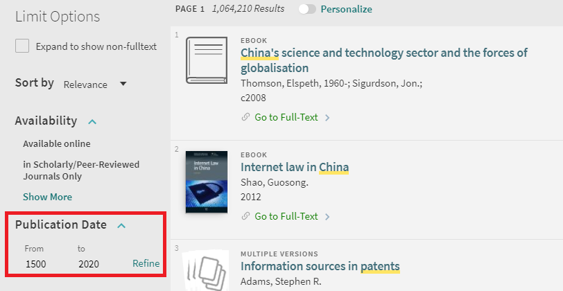 OneSearch results page with Publication Date limit option highlighted