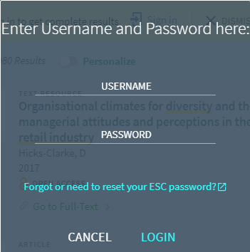 OneSearch sign in popup window to enter username and password.