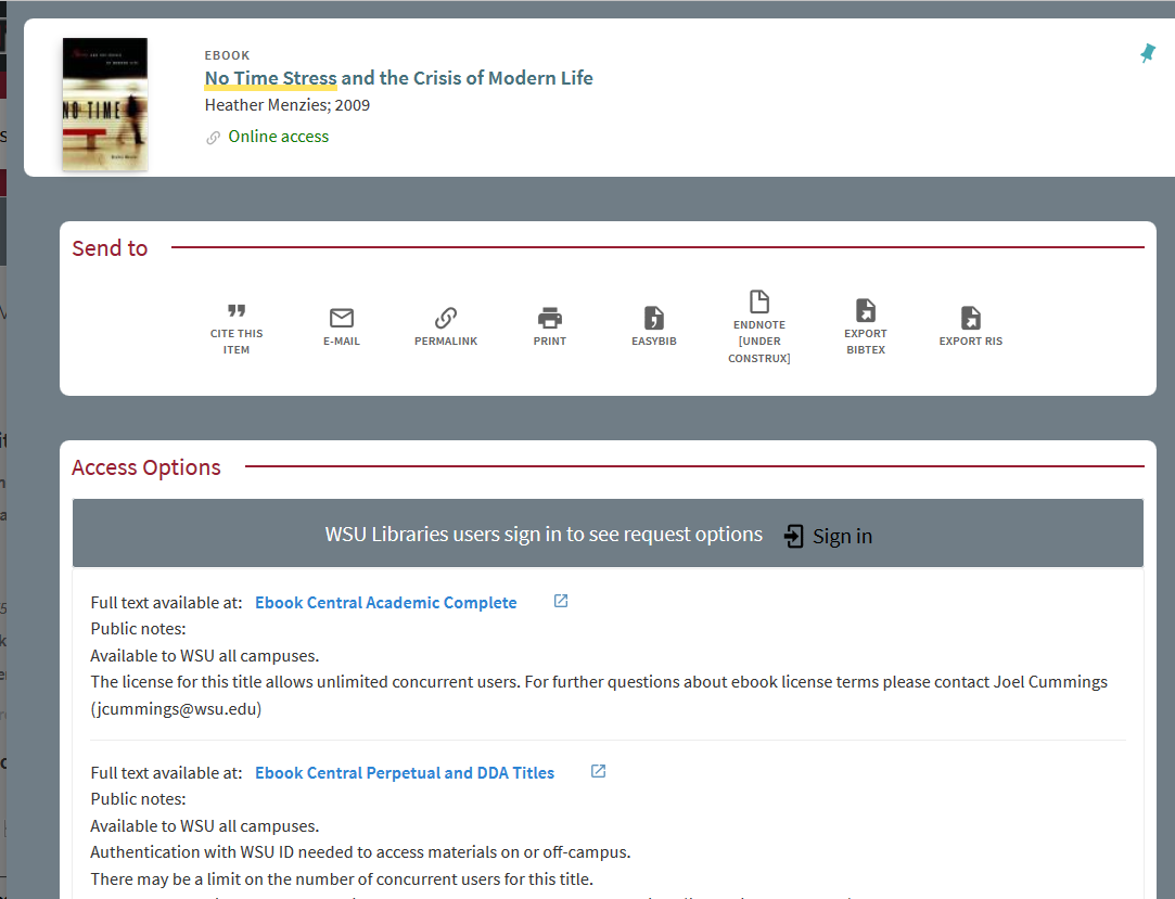 screenshot of Search It record for ebook titled no time stress and the crisis of modern life