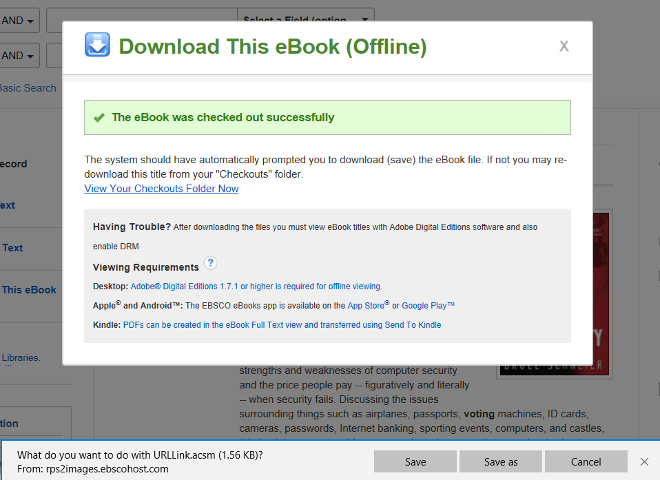 """""""Download This eBook (Offline)"""" screen confirming eBook was checked out successfully"""