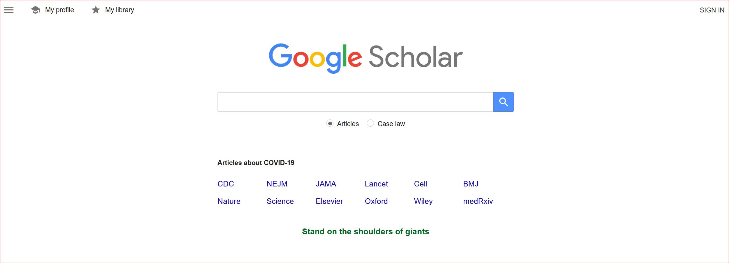 Screenshot of Google Scholar home page