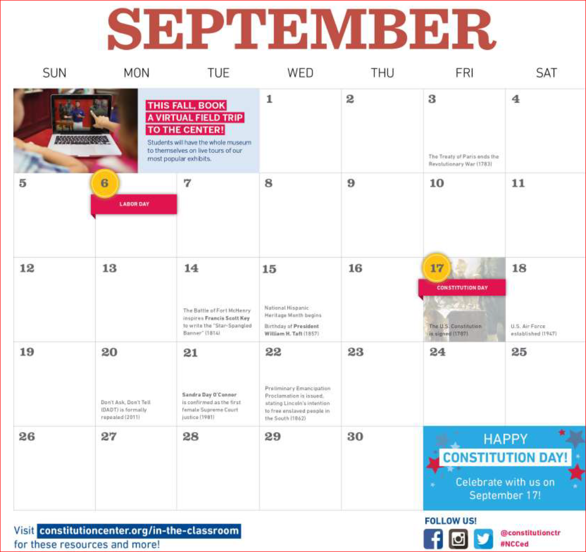 Month of September page, National Constitution Center Civic Calendar