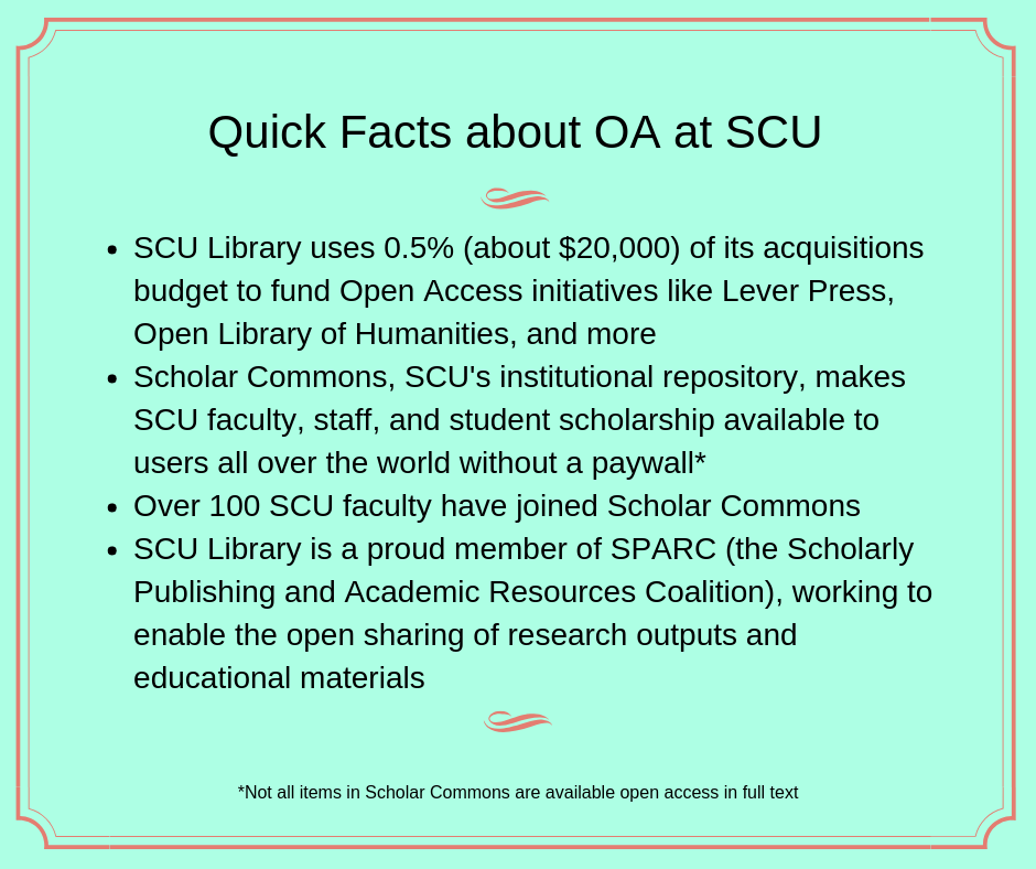 Quick Facts about OA at SCU Graphic
