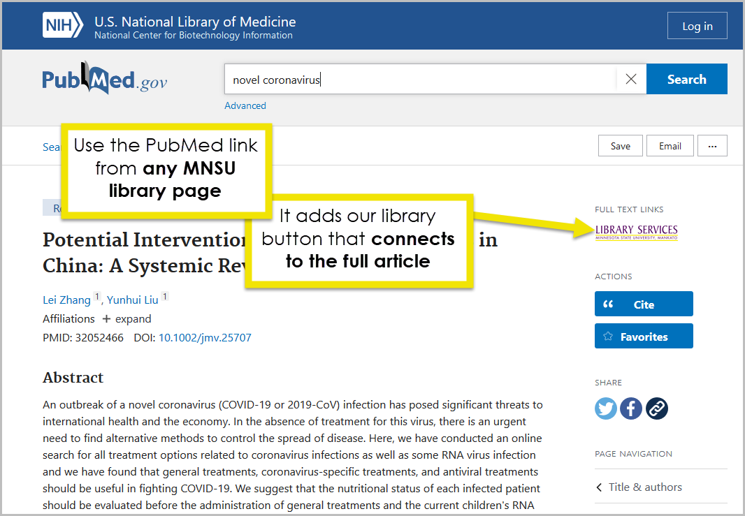 An individual article record in PubMed. Look for the Minnesota State University Mankato full text provider link to see if we have this actical available