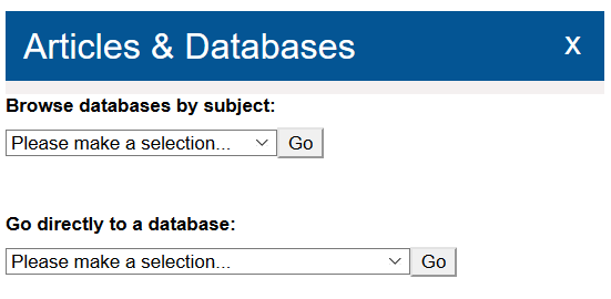 Browse article databases by subject or by database name