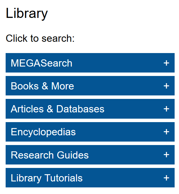 Library homepage with search boxes