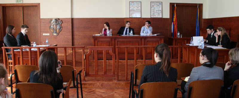 Court room with people and judge Moot Court