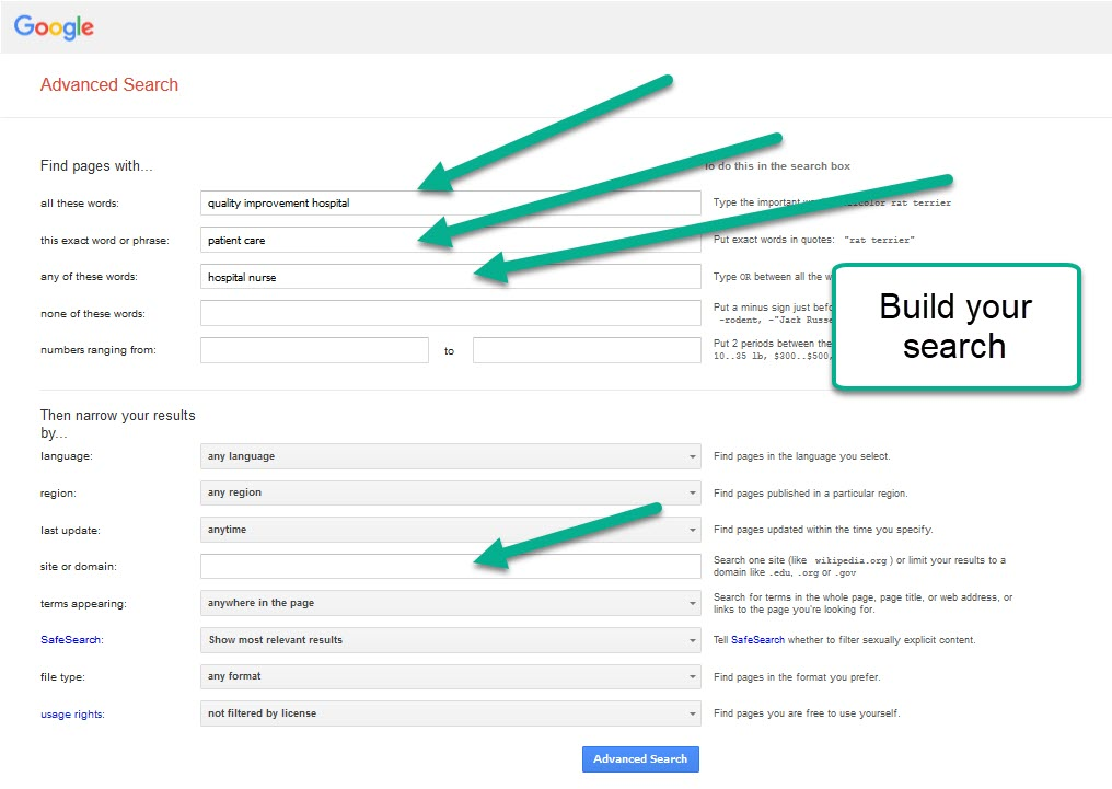 Google advanced search screen build your search