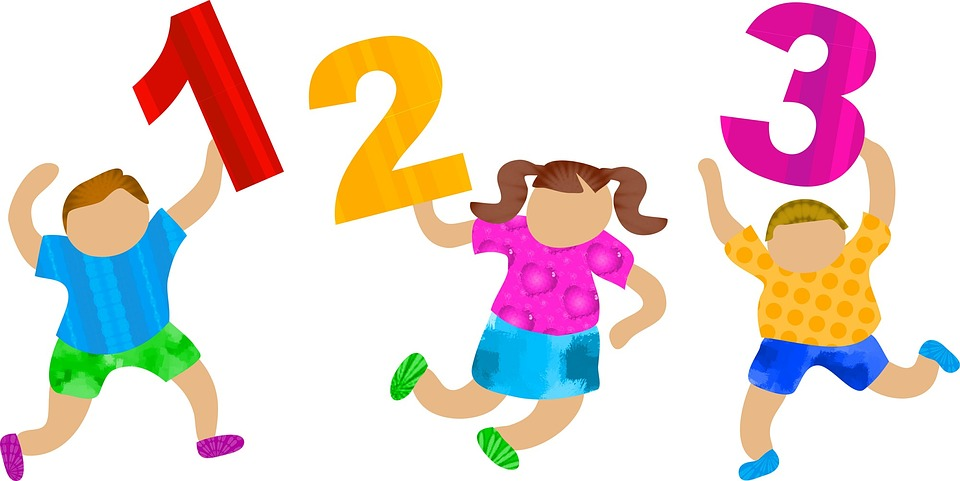 three cartoon kids holding numbers 1 2 3