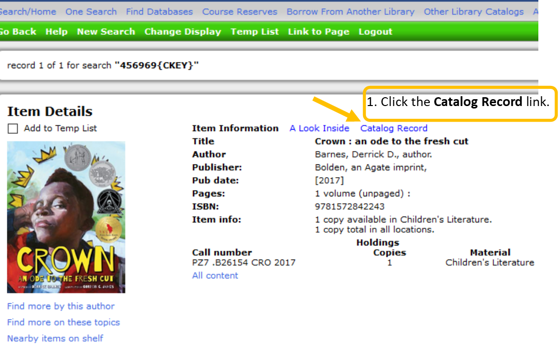 Screen shot of picture book library catalog record.