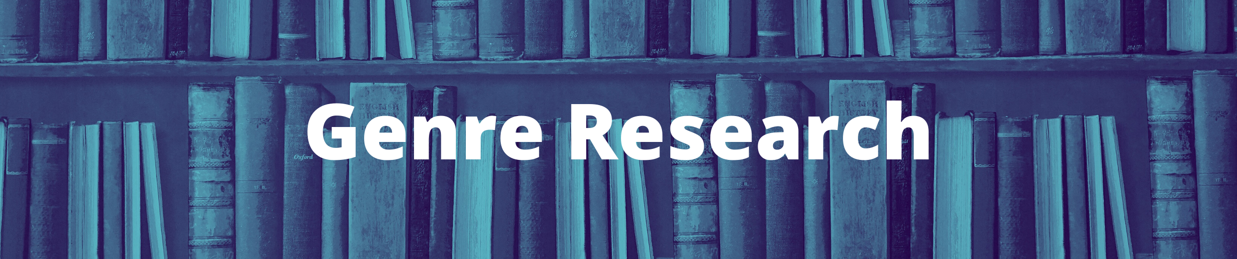 Banner with bookshelf and text Genre Research