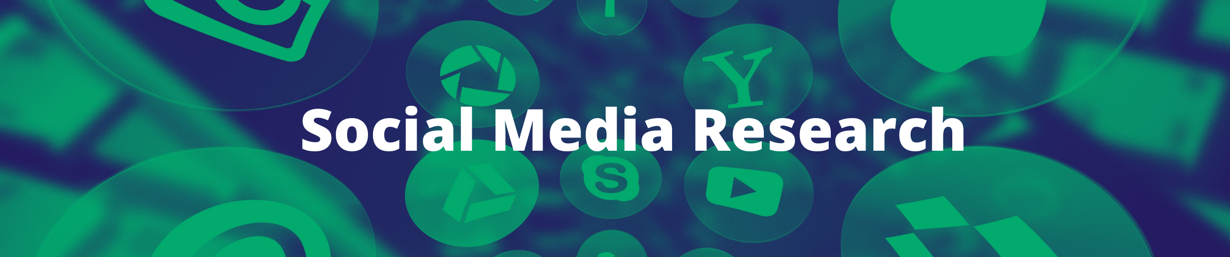 Banner with social media icons and text Social Media Research