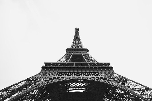 Black and white photograph of Eiffel Tower