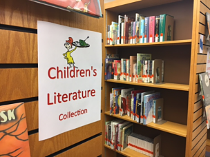 photo of Bailey Library Children's Literature shelves.