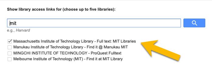 Screenshot showing MIT option in Google settings