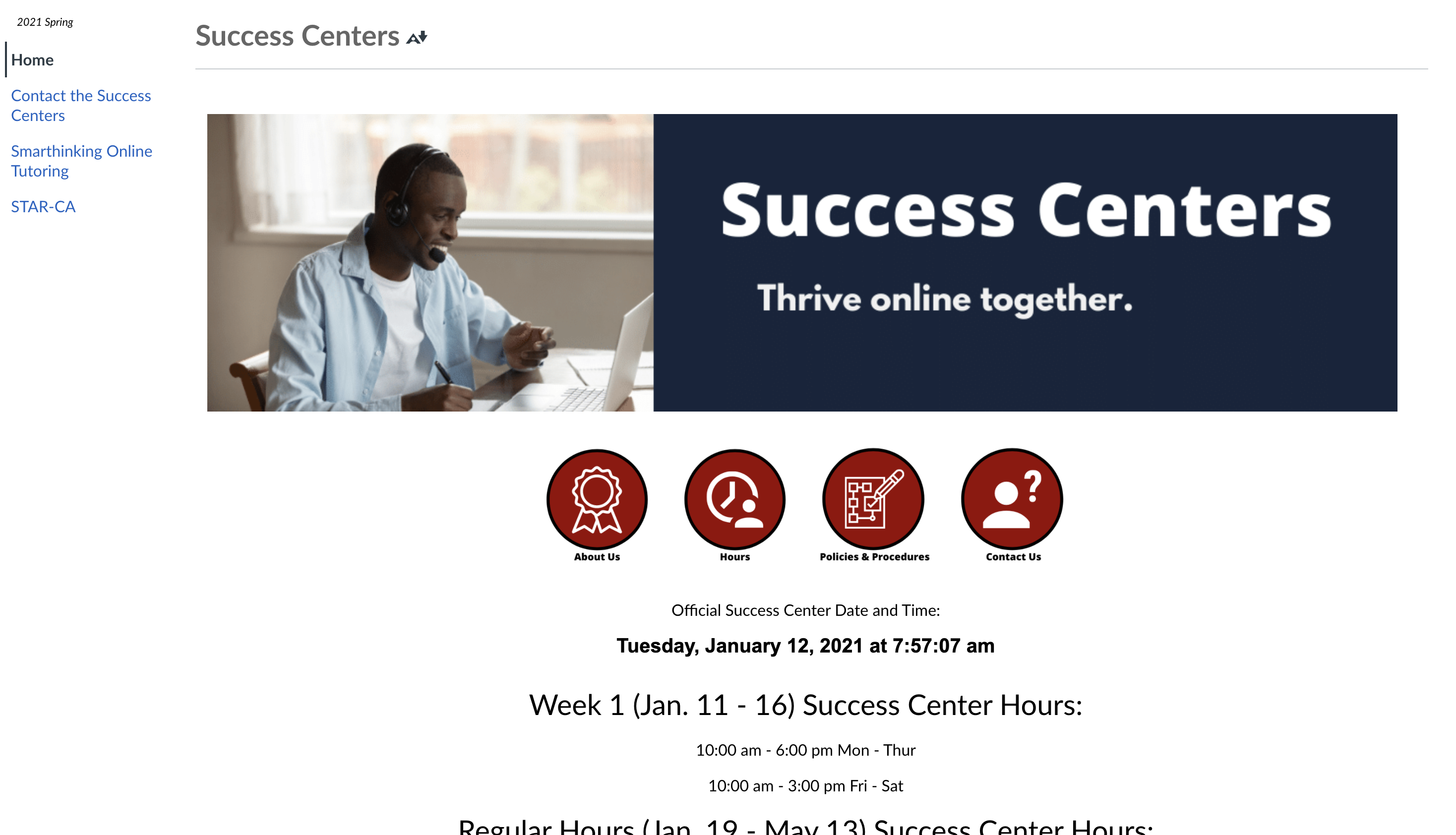 Front Page of Success Center's Canvas Site