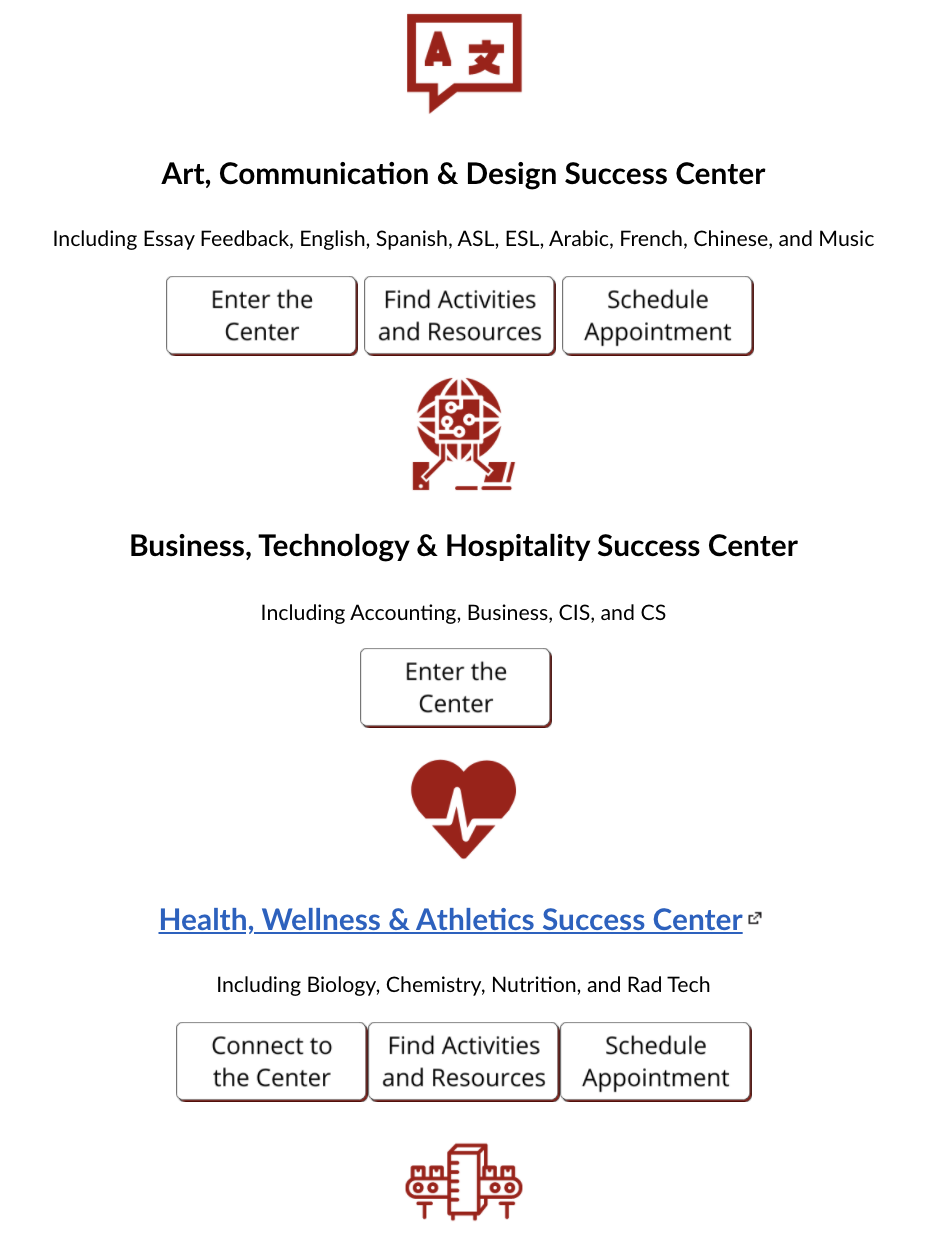 Close up of Success Center Home Page Showing Enter the Center buttons