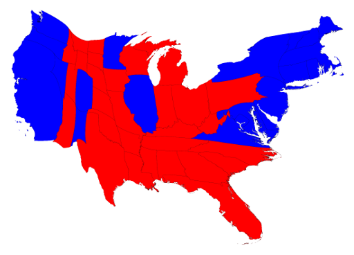 cartogram of 2016 presidential election results