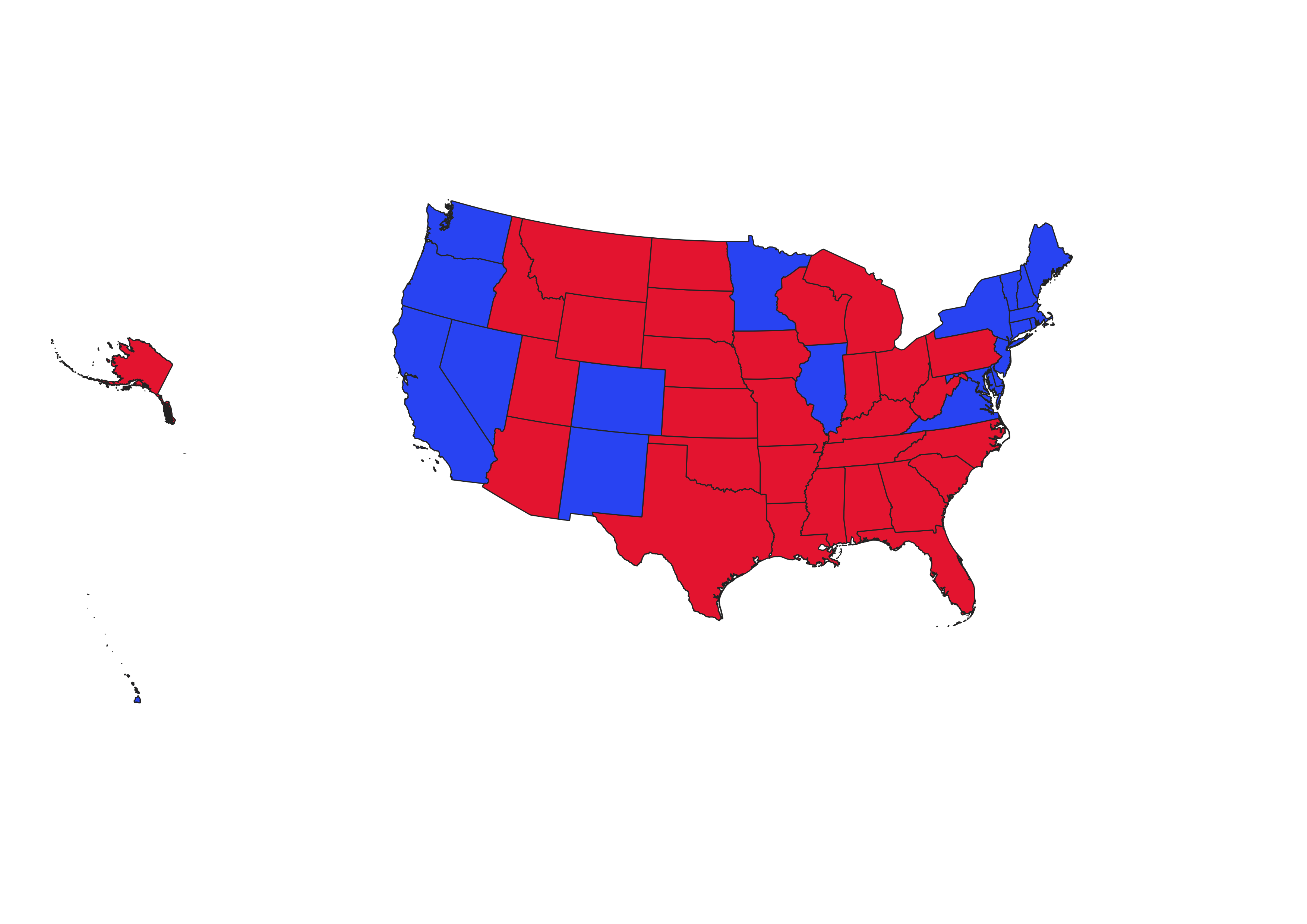 map of us showing 2016 presidential election results. states colored either red or blue