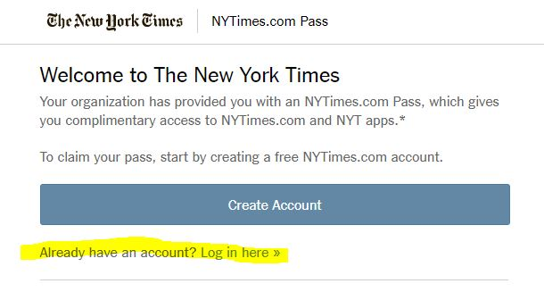 Screen Grab of New York Times Group Pass website.