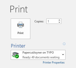 Microsoft Print Dialog Box