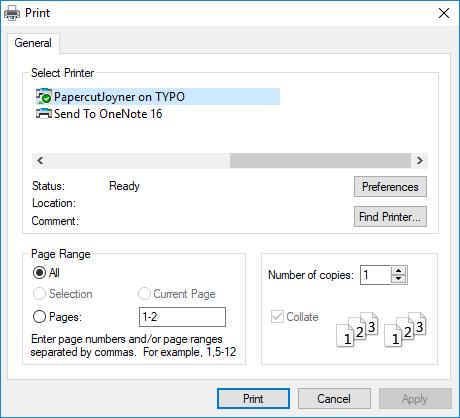Print Dialog Box