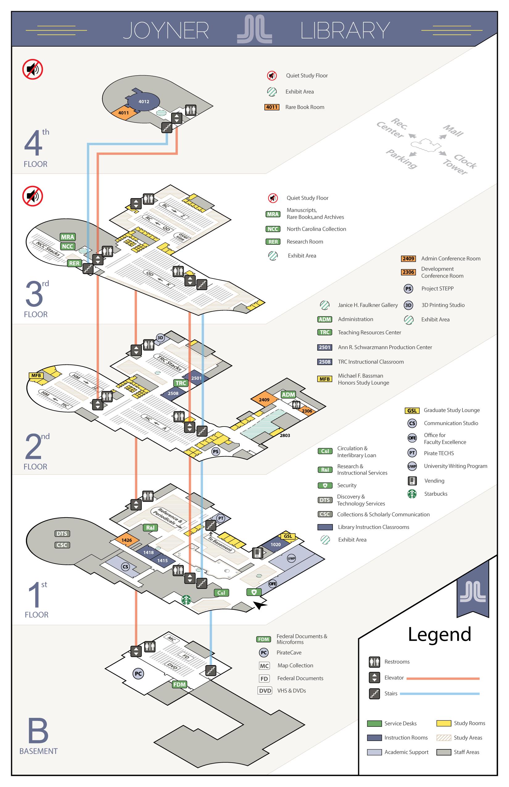 Entire Joyner Library Floor Map