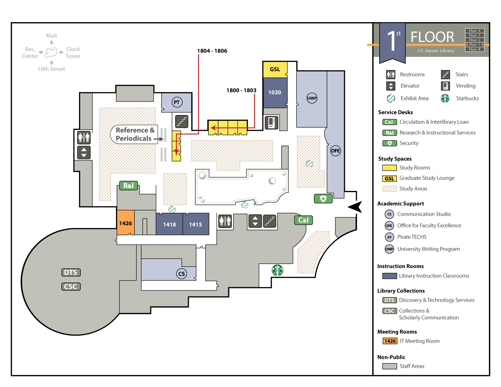 Joyner Library First Floor Map