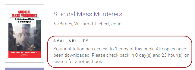 Your institution has access to 1 copy of this book. All copies have been downloaded. Please check back in 0 day(s) and 23 hour(s), or search for another book.