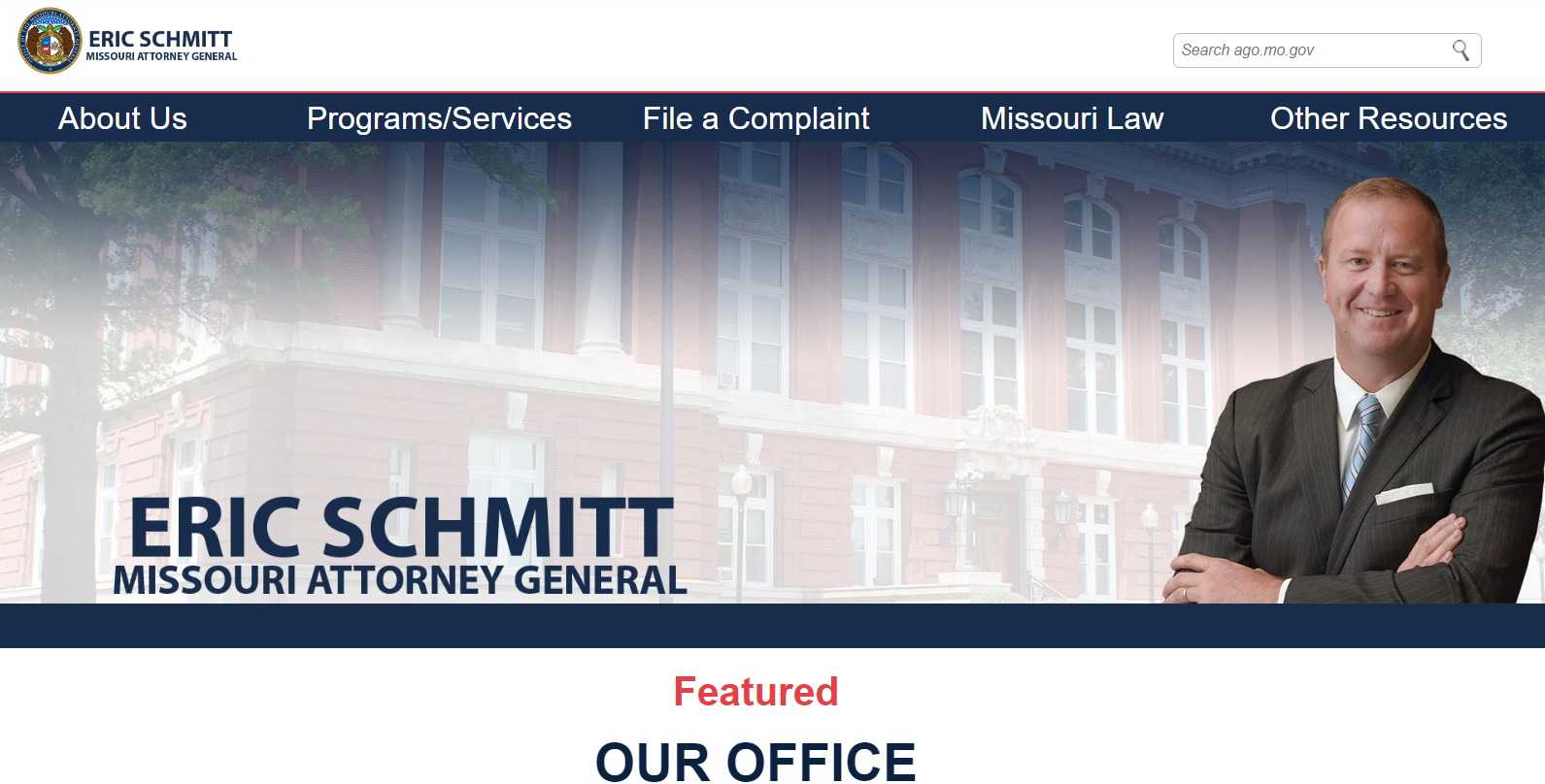 image of Attorney General's website. Click to visit website.
