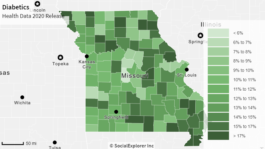 color map displaying Diabetic Population in Missouri