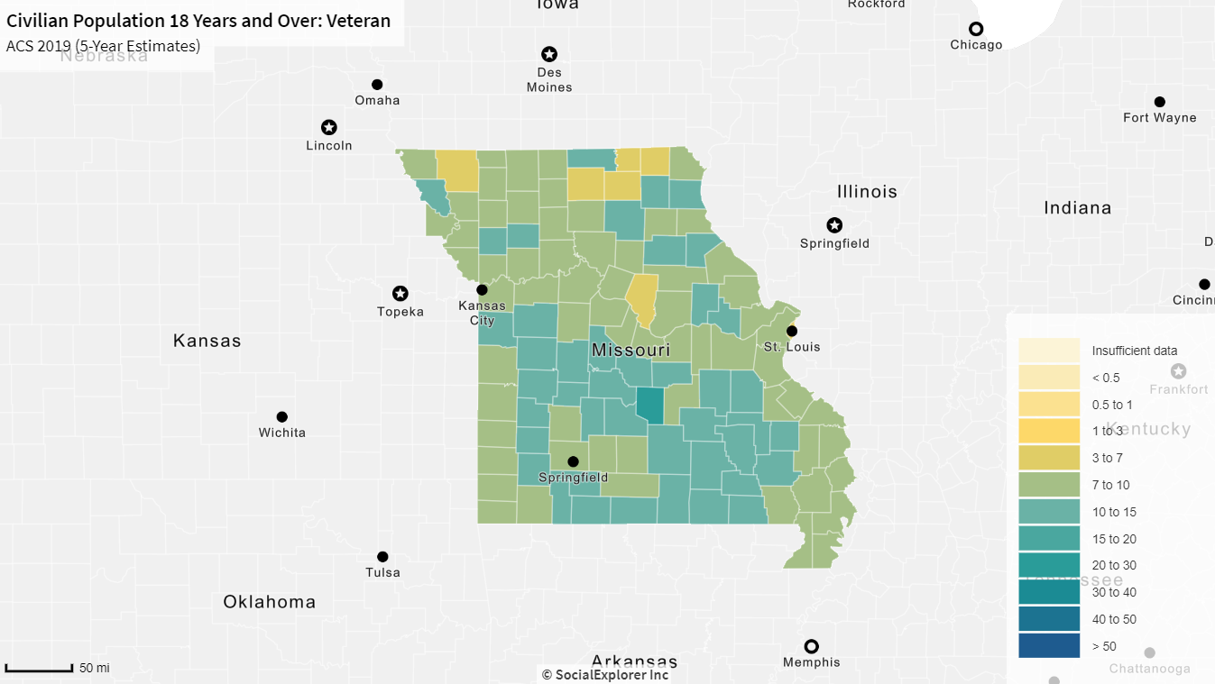 colored map of the Civilian/Veteran Population 18 Years and Over in Missouri