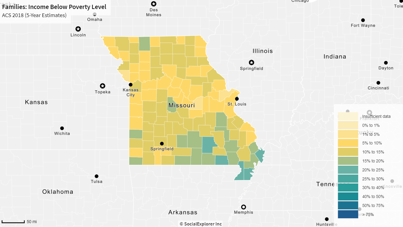 map displaying data for Families with Income Below Poverty Level in Missouri
