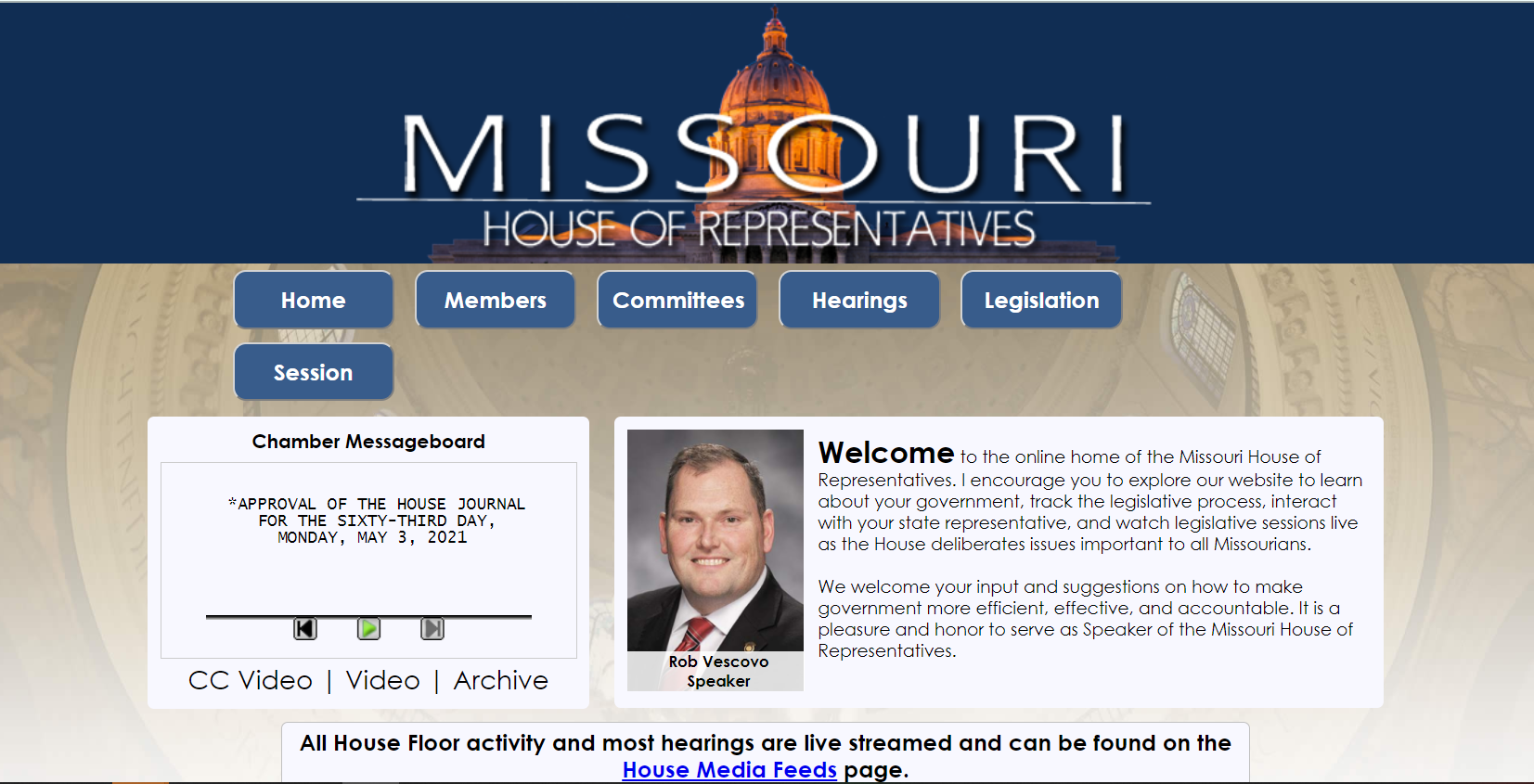 image of the House of Representatives website