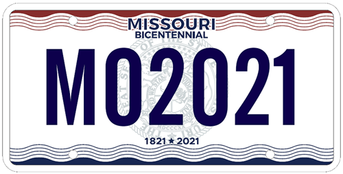 blue and red Missouri Bicentennial license plate