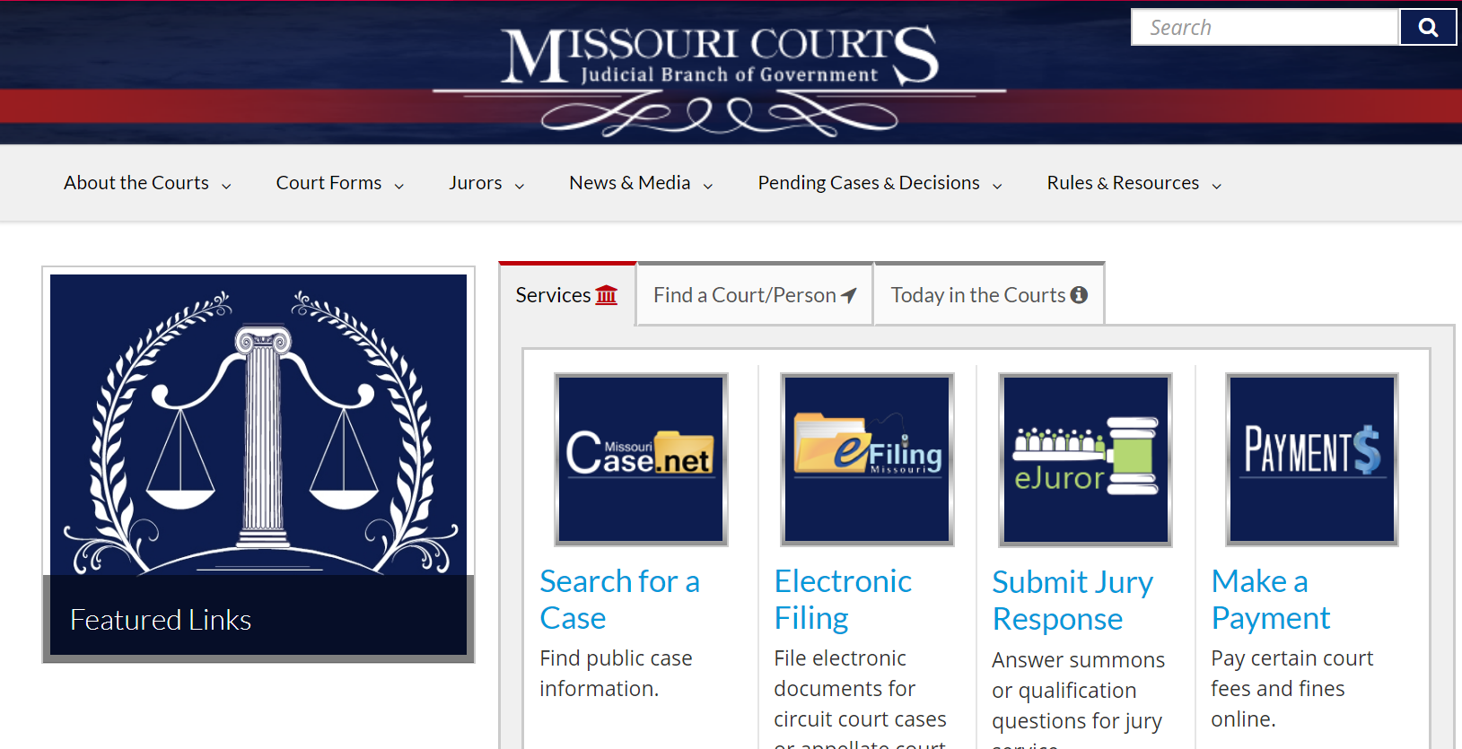 image of the Missouri Courts website. Click to visit website..