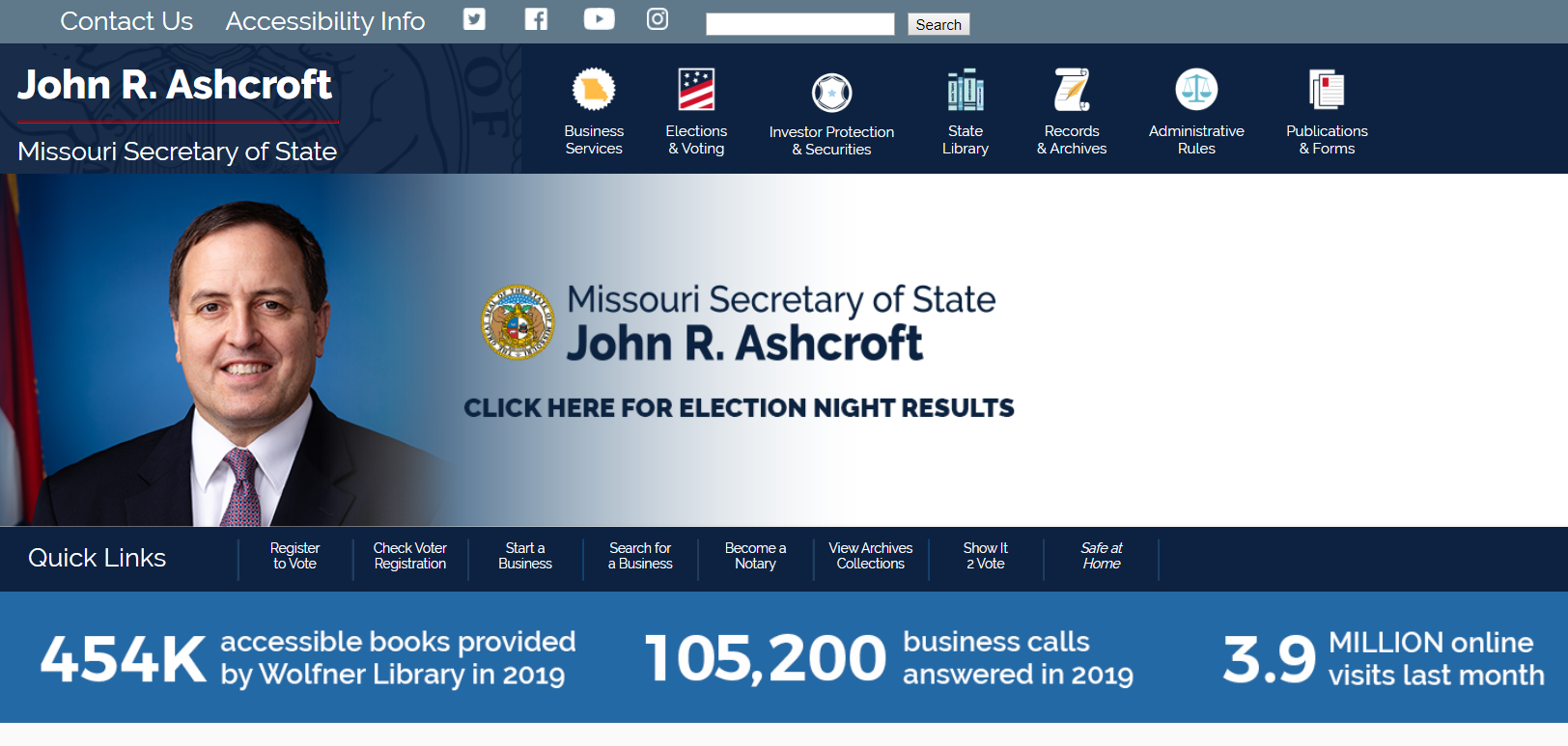 Image of Secretary of State's website. Click to visit website..
