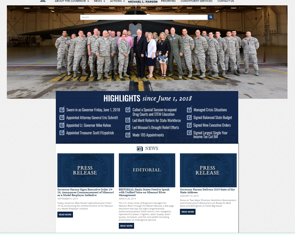 image of the Governor's website. Click to visit website..