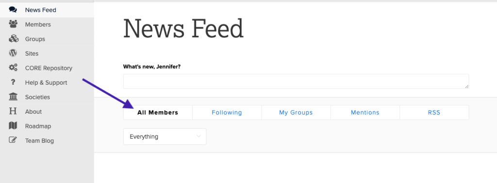 Screenshot of News Feed