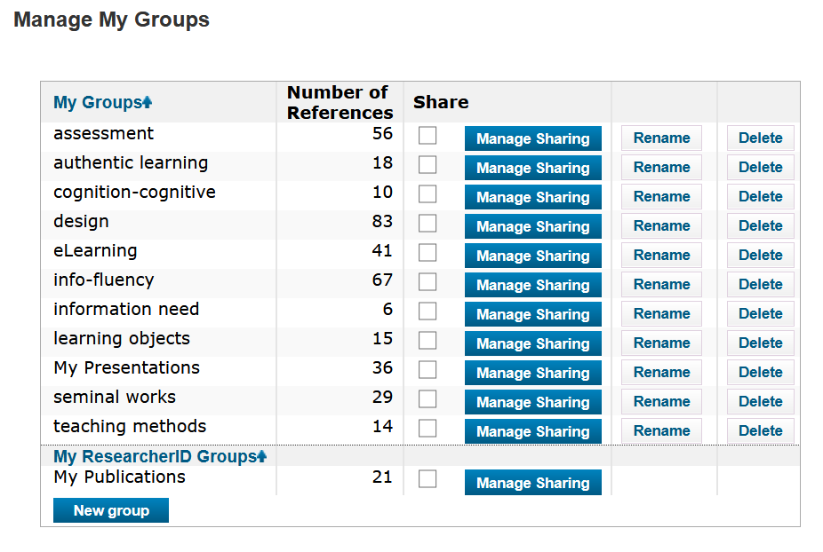 Image of list of groups in EndNote